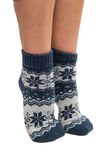 Winter socks on his feet. On a white background Royalty Free Stock Image