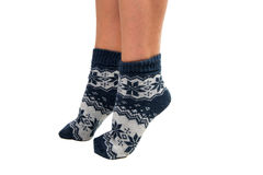 Winter socks on his feet Royalty Free Stock Photos