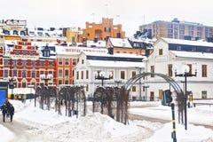 Winter Sodermalm und Stockholm-Stadt-Museum Lizenzfreies Stockfoto