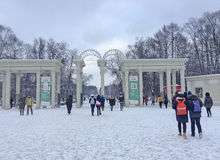 Winter in Sokolniki-Park, Moskau Stockfotografie