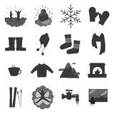 Winter solid icons Royalty Free Stock Photography
