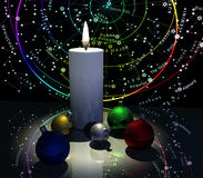 Winter Solstice. Star Map, Candle, and Christmas Baubles Royalty Free Stock Image