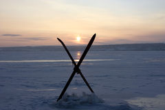 Winter solstice. On the image there is a wintry day and skis Royalty Free Stock Image