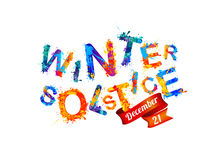 Winter solstice. December 21. Vector watercolor splash paint Royalty Free Stock Photography