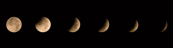 Winter Solstice Lunar Eclipse 2010. Image showing six stages of the winter solstice lunar eclipse of 12/21/2010 Stock Photography