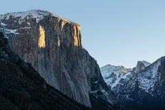 Winter-Sonnenaufgang, EL Capitan Stockfoto