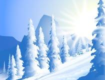Winter-Sonnenschein-Vektor-Illustration Stockbilder