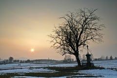 Winter-Sonnenuntergang Stockfotografie
