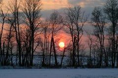 Winter-Sonnenuntergang Stockbilder