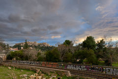Winter-Sonnenuntergang am Akropolishügel, Ansicht von Monastiraki Lizenzfreies Stockbild