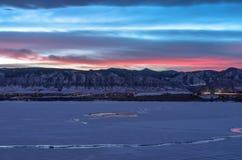 Winter-Sonnenuntergang bei Denver Front Range Stockfotos