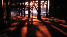 Winter-Sonnenuntergang in Cleveland Ohio Stockfotografie