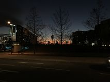 Winter-Sonnenuntergang - East Village Stockfotografie