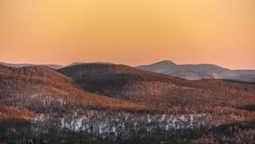 Winter-Sonnenuntergang-Farbe Stockfotografie