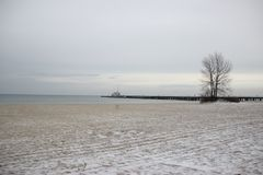 Winter Sopot sea. Poland Sopot. Winter Baltic sea. Photo was taken in january 2016 Royalty Free Stock Image