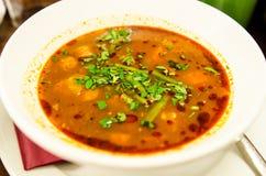 Winter soup with smoked sausage Stock Photos