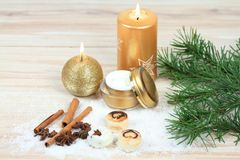 Winter spa concept with candles. Stock Photos