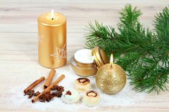 Winter spa concept with candles. Royalty Free Stock Images