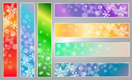 Winter sparkling banners with snowflakes. Winter sparkling  banners with snowflakes new year and Christmas on the blue, red and green background Stock Images