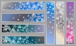 Winter sparkling banners with snowflakes. Set of winter sparkling  banners with snowflakes for new year and Christmas on the blue, grey and purple background Stock Image