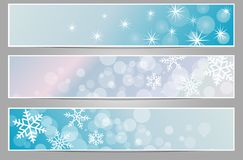 Winter sparkling banners with snowflakes. New year and Christmas Royalty Free Stock Photo