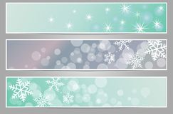 Winter sparkling banners with snowflakes. New year and Christmas on the blue and gray background Stock Photo