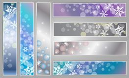 Winter sparkling banners with snowflakes. Winter sparkling  banners with snowflakes for new year and Christmas on the blue, grey and purple background Royalty Free Stock Photography