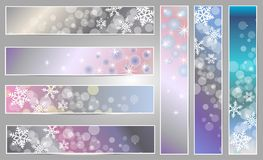 Winter sparkling banners with snowflakes. Winter sparkling  banners with snowflakes for new year and Christmas on the blue, grey and pink background Stock Image