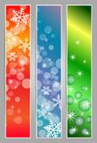Winter sparkling banners with snowflakes. Winter sparkling  banners with snowflakes new year and Christmas on the blue, red and green background Royalty Free Stock Photography
