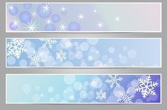 Winter sparkling banners with snowflakes. New year and Christmas part 2 Royalty Free Stock Images