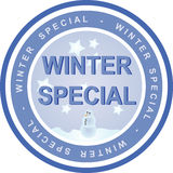Winter special. An illustrated badge that declares a winter special. All on white background Stock Image