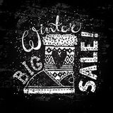 Winter Special banner or label with boot. Business seasonal shopping concept big sale. Royalty Free Stock Photo