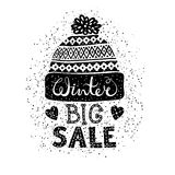Winter Special banner or label with a knitted woolen cap. Business seasonal shopping concept big sale. Royalty Free Stock Photo