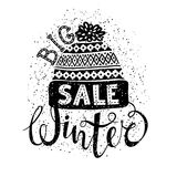 Winter Special banner or label with a knitted woolen cap. Business seasonal shopping concept big sale. Stock Photography