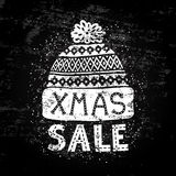 Winter Special banner or label with a knitted woolen cap. Business seasonal shopping concept sale. Royalty Free Stock Photography