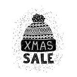 Winter Special banner or label with a knitted woolen cap. Business seasonal shopping concept sale. Stock Photos