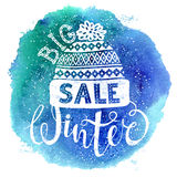 Winter Special banner or label with a knitted woolen cap on watercolor background. Business seasonal shopping concept Stock Photos