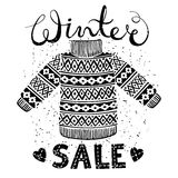 Winter Special banner, label with knitted woolen pullover or sweater. Business seasonal shopping concept sale. Stock Images