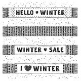 Winter Special banner or label with knitted woolen scarves. Business seasonal shopping concept sale. Stock Photo