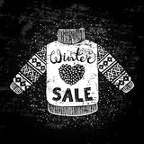 Winter Special banner or label with knitted woolen sweater. Business seasonal shopping concept sale. Royalty Free Stock Photography