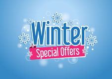 Winter Special Offers Word with Snows in Blue Background. Winter Special Offers Word or Text with Snow Flakes in Beautiful Blue Background with Lights Royalty Free Stock Photos