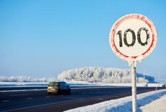 Winter speed limit sign Royalty Free Stock Image