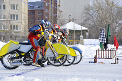 Winter speedway on the ice, start Royalty Free Stock Photos