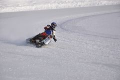 Winter speedway the icy track, turns on knee stock photos