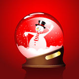 Winter sphere with a snowman Stock Photos