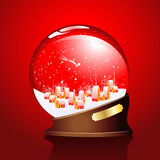 Winter sphere with a town Stock Photos