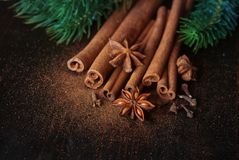 Winter spices for drinks and cookies. Cinnamon sticks, carnation and anise close up on wooden table. Selective focus Royalty Free Stock Image