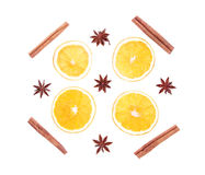 Winter spices and orange composition isolated on white Stock Photos