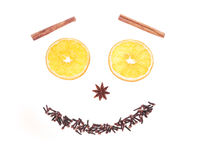 Winter spices and orange smiley isolated on white. Cinnamon, aniseed and orange slices smiley isolated on white background Royalty Free Stock Images