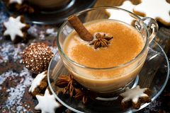 Winter spicy masala tea and cookies, top view royalty free stock photos